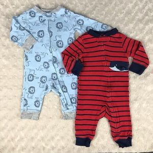 Carter's 3 Month Footless Sleepers Whale Stripes